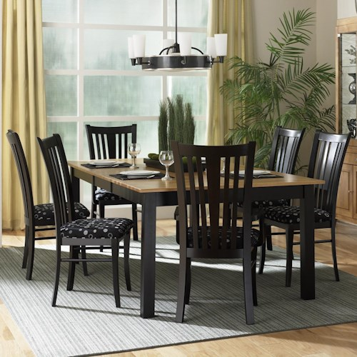 Canadel Custom Dining - Contemporary Customizable 7 Piece Rectangular Table Set