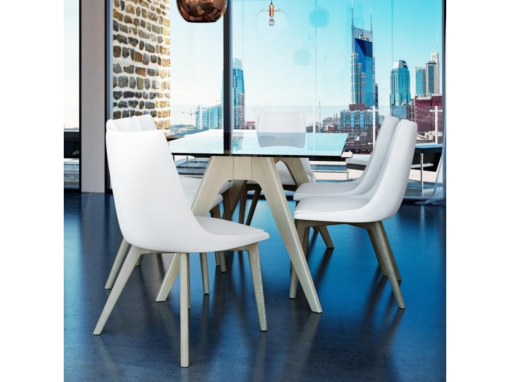 Canadel downtown custom diningcustomizable glass top table set