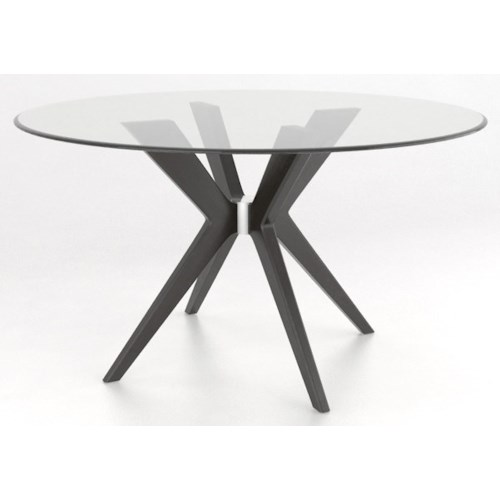 Canadel Downtown Custom Dining Contemporary Customizable Round Glass Top Table Belfort