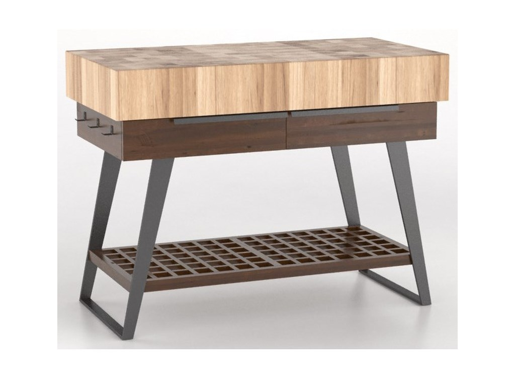 East Side Customizable Kitchen Island With Butcher Block Top And Metal Legs By Canadel