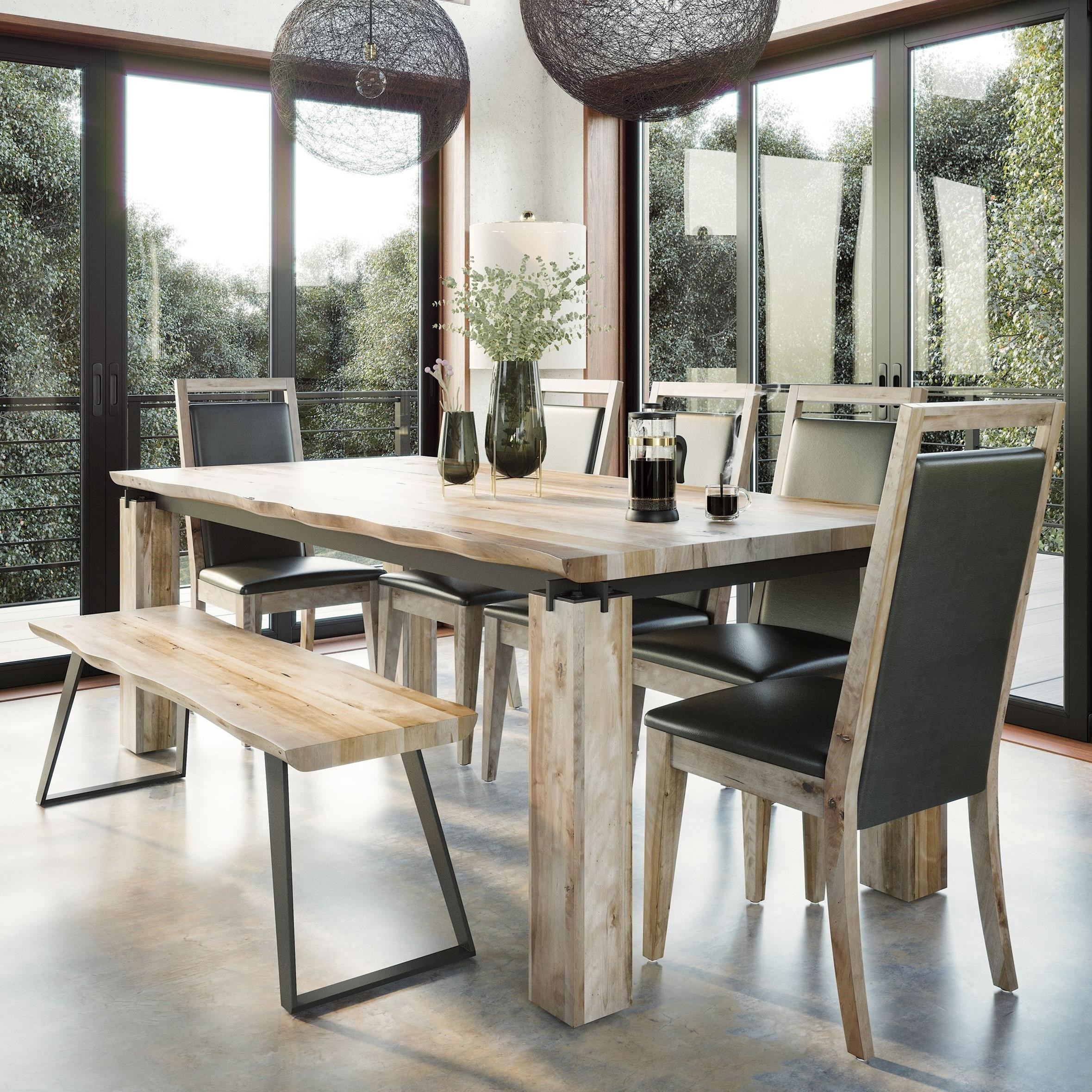 Customizable Live Edge Dining Table Set With Bench