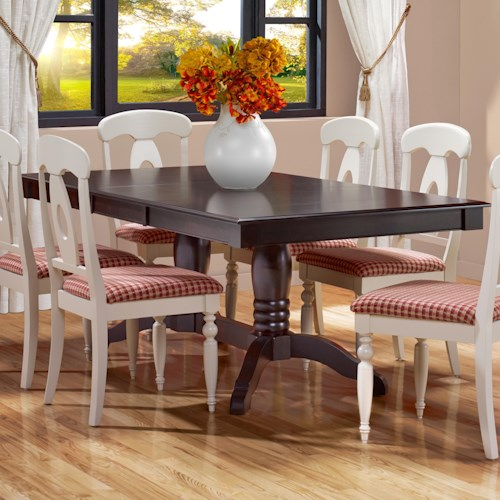 Canadel Gourmet - Custom Dining Customizable Rectangular Table with Leaf & Trestle Base