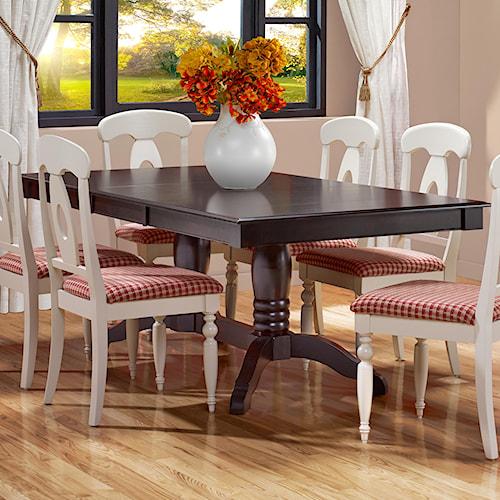 Canadel Gourmet - Custom Dining Customizable Rectangular Table with Leaf & Trestle Base