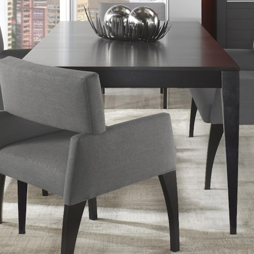 Canadel Custom Dining Customizable Rectangular Table with Tapered Legs & Leaf
