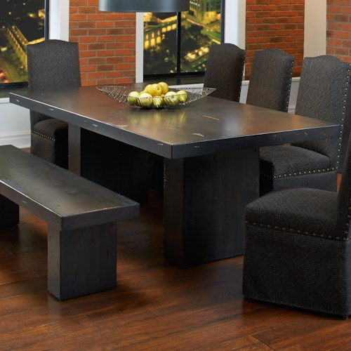 Canadel Loft - Custom Dining Customizable Rectangular Table with Double Pedestal Base