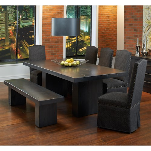 Canadel Loft - Custom Dining Customizable Rectangular Table Set with Bench