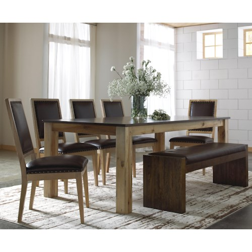 Canadel Loft - Custom Dining Customizable Rectangular Table Set with Bench