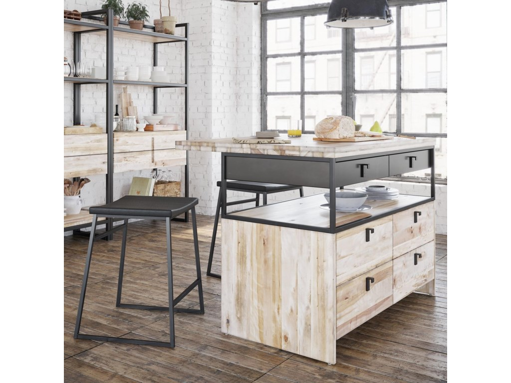Canadel Loft Custom Dining Customizable Island And Stools