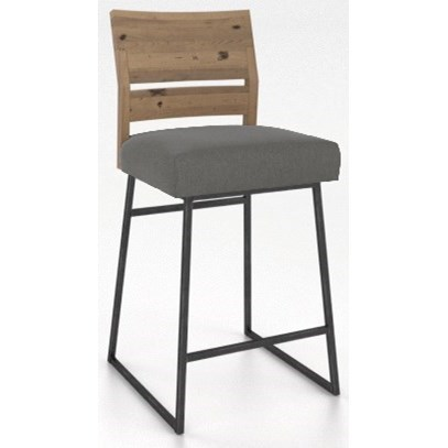 Customizable Metal/Wood Stool with Upholstered Seat