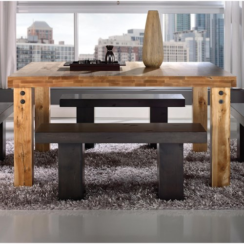 Canadel Loft - Custom Dining Customizable Square Table with Legs & Accent Rivets