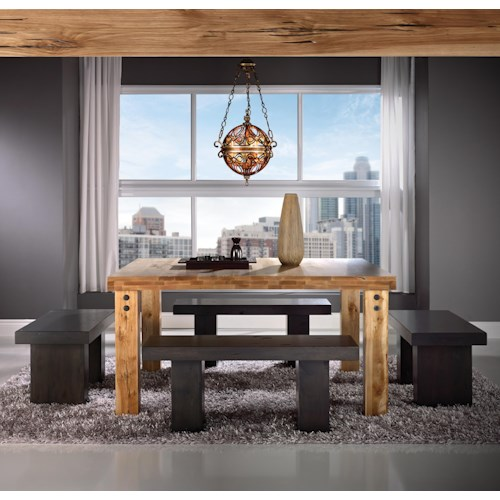 Canadel Loft - Custom Dining Customizable Square Table Set with 4 Benches