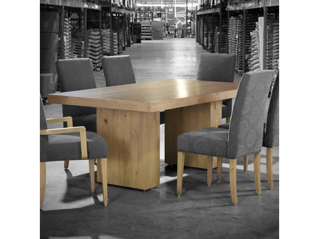 Loft Custom Dining Customizable Rectangular Table With Double Pedestal Base By Canadel