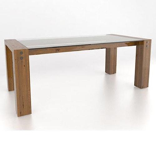 Canadel loft customizable rectangular glass top dining table wilson 39 s furniture dining - Glass top dining room tables rectangular ...