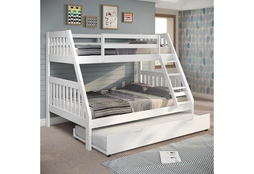 Canal House Bunk Beds Twin Over Full Bunk Bed White With Trundle Unit Westrich Furniture Appliances Bunk Beds