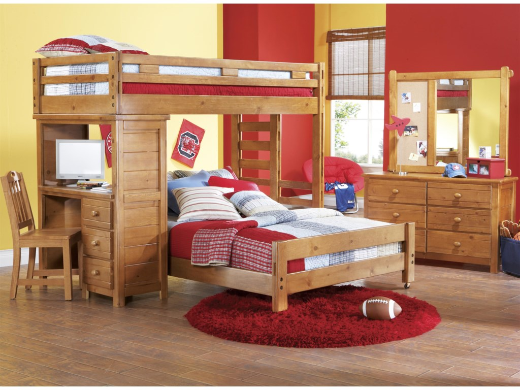 Shown in Room Setting with Landscape Mirror, Loft Bed and Desk