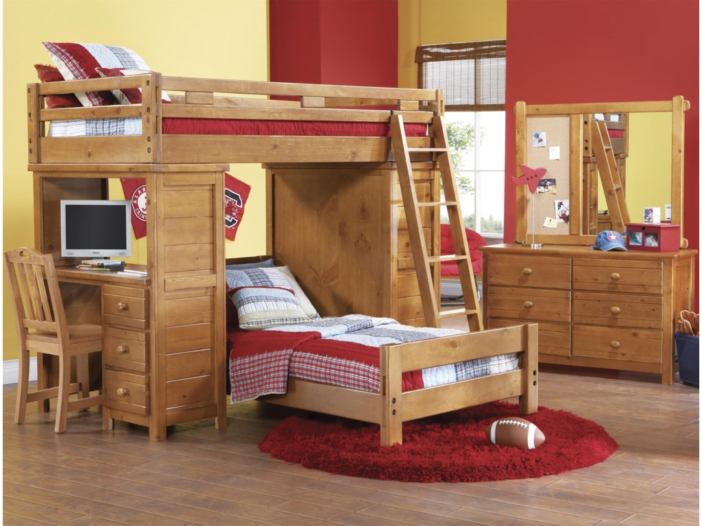 Shown in Room Setting with Landscape Mirror, Loft Bed, Desk and Ladder