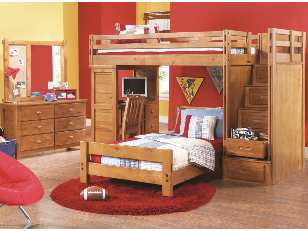 Shown in Room Setting with Dresser, Loft Bed, Storage Stairs and Desk