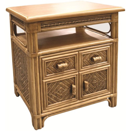 Capris Furniture 321 Collection Wicker Rattan Cabinet With Open Shelf