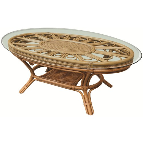 Capris Furniture 321 Collection Wicker Rattan Framed Glass Top Cocktail Table