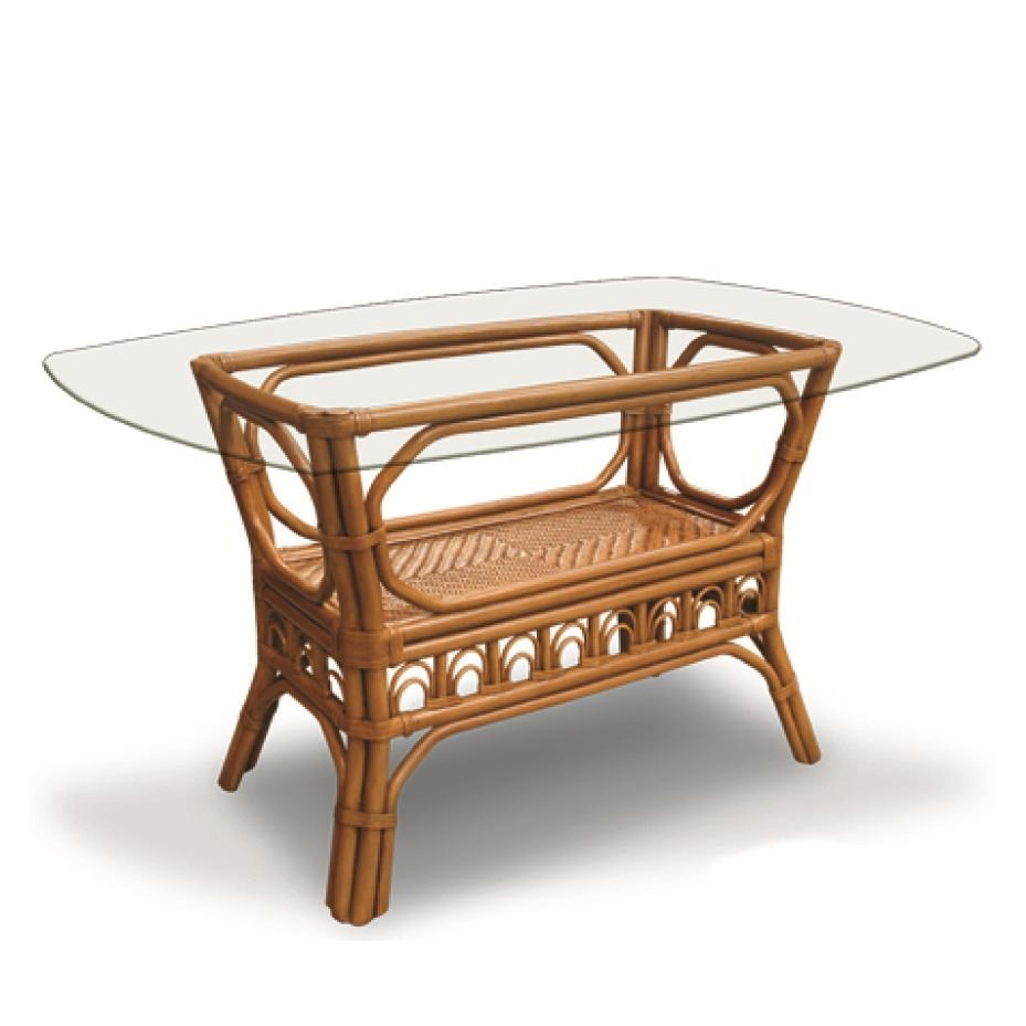 Capris Furniture 321 Collection Glass Top Wicker Rattan Oval Dining Table