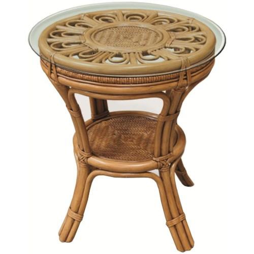 Capris Furniture 321 Collection Round Wicker Rattan Lamp Table