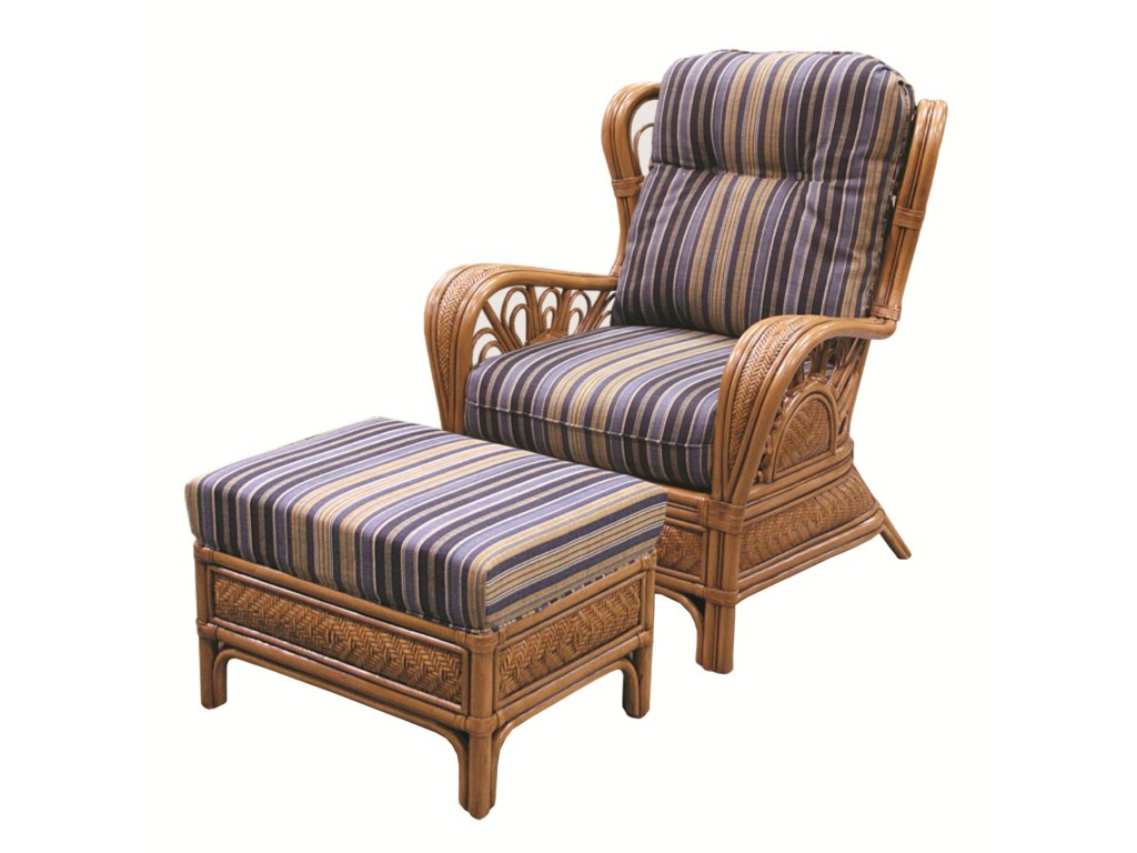 Capris Furniture 321 CollectionWicker Rattan Chair and Ottoman