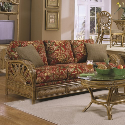 Capris Furniture 321 Collection Wicker Rattan Framed Sofa With Accent Pillows