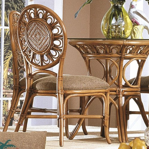 Capris Furniture 321 Collection Wicker Rattan Dining Side Chair With Upholstered Seat Cushion
