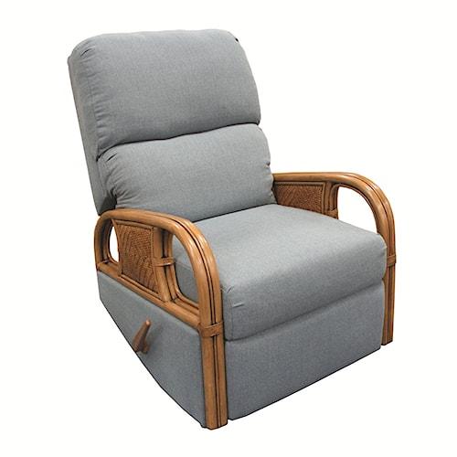Capris Furniture 321 Collection Wicker Rattan Framed Swivel Rocking Recliner