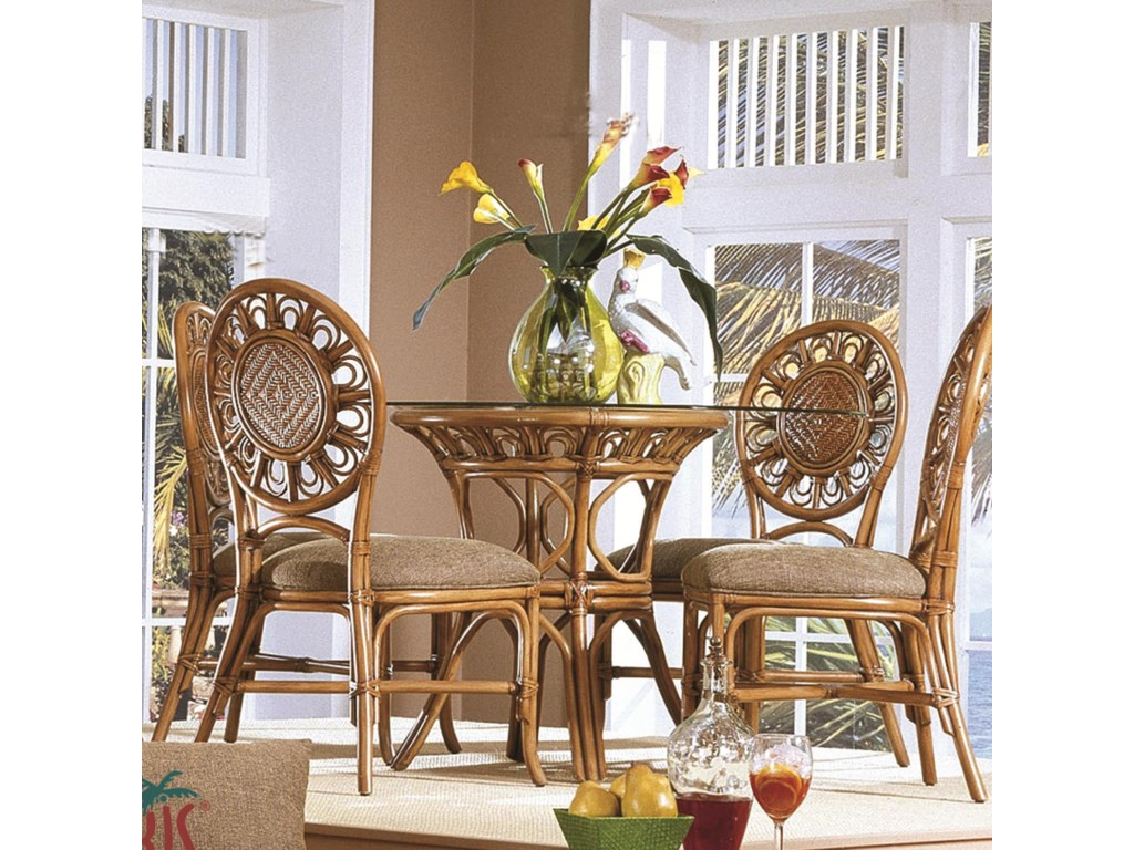 Capris Furniture 321 CollectionGlass Top Table With Four Side Chairs