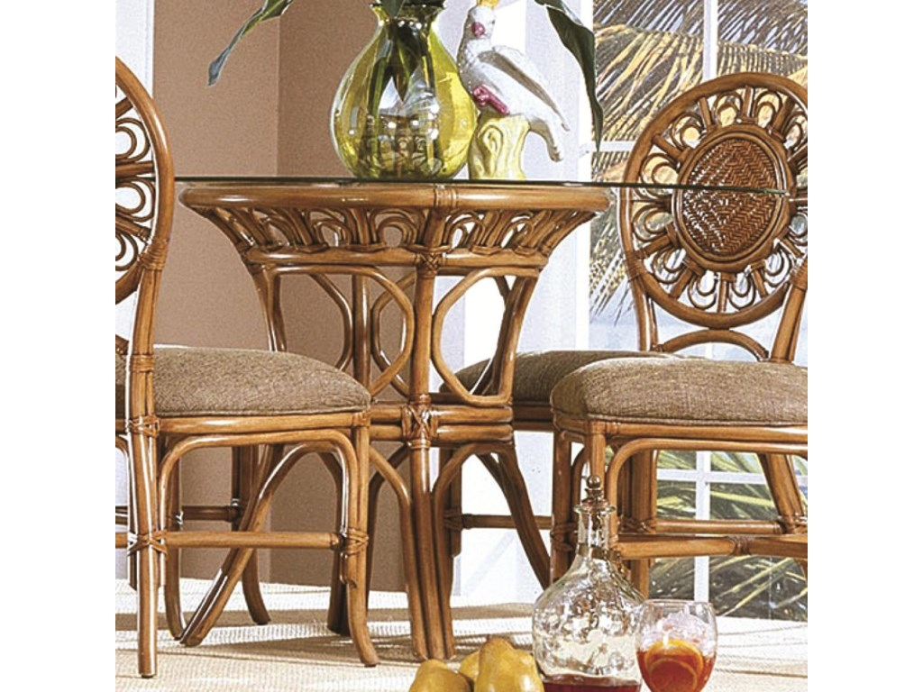 Capris Furniture 321 Collection Glass Top Wicker Rattan ...