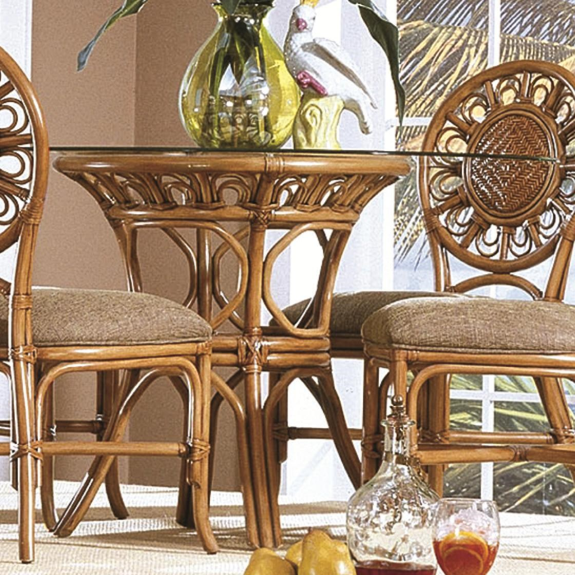 Capris Furniture 321 Collection Glass Top Wicker Rattan Round Table    Hudsonu0027s Furniture   Kitchen Table