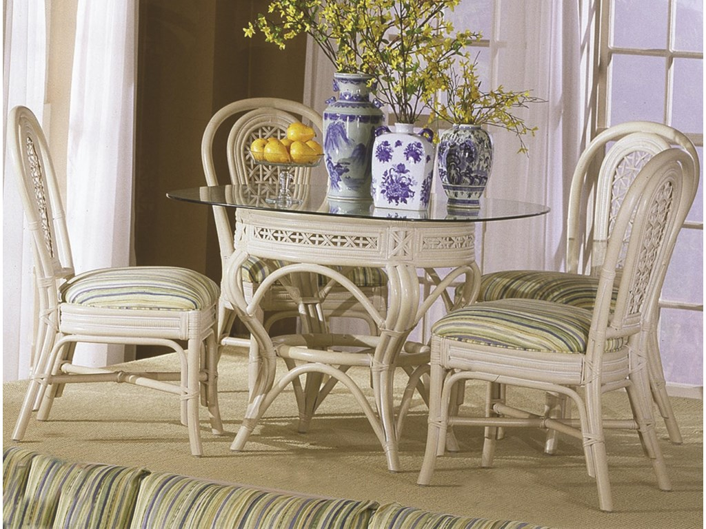 Capris Furniture 341 CollectionGlass Top Table With Four Side Chairs