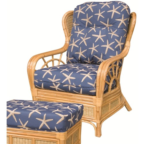 Capris Furniture 381 Collection Wicker Rattan Upholstered Wing Chair