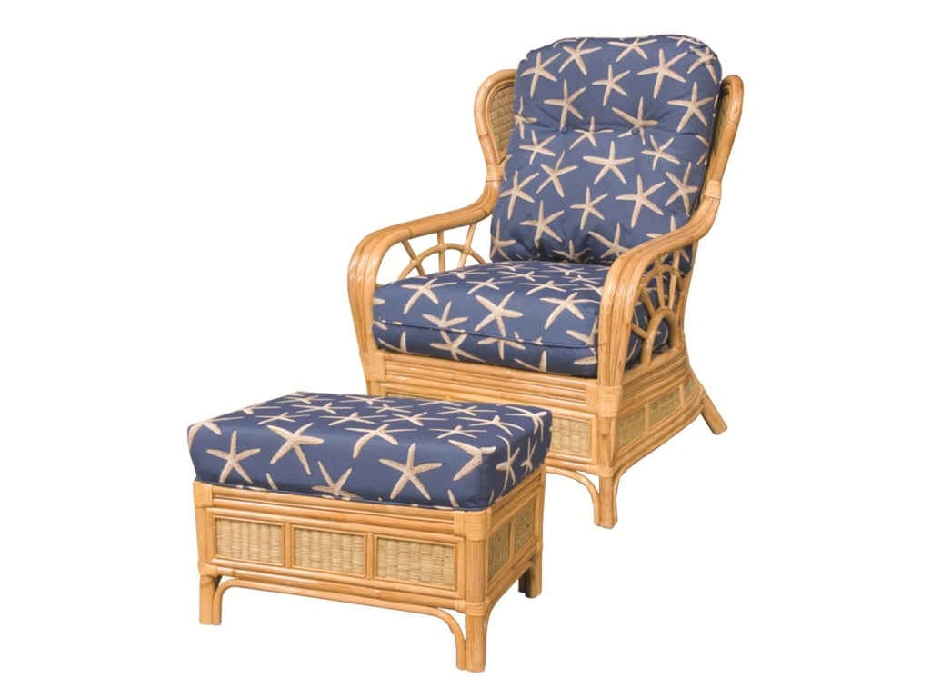 Capris Furniture 381 CollectionWicker Rattan Upholstered Chair
