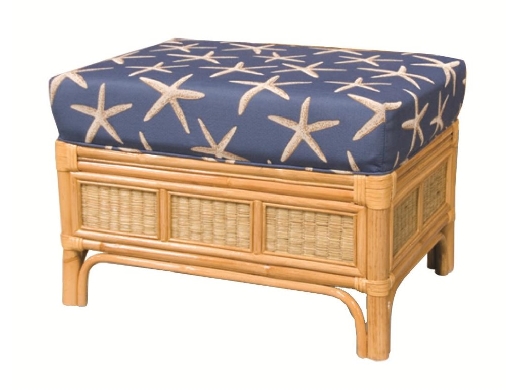 Capris Furniture 381 CollectionWicker Rattan Ottoman