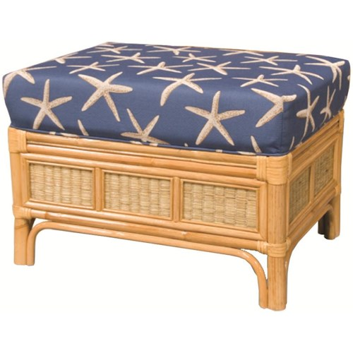 Capris Furniture 381 Collection Wicker Rattan Based Ottoman