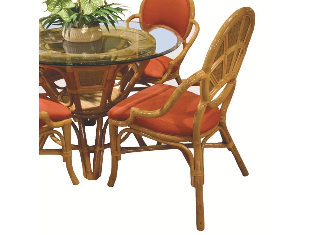 Capris Furniture 381 CollectionWicker Rattan Dining Arm Chair