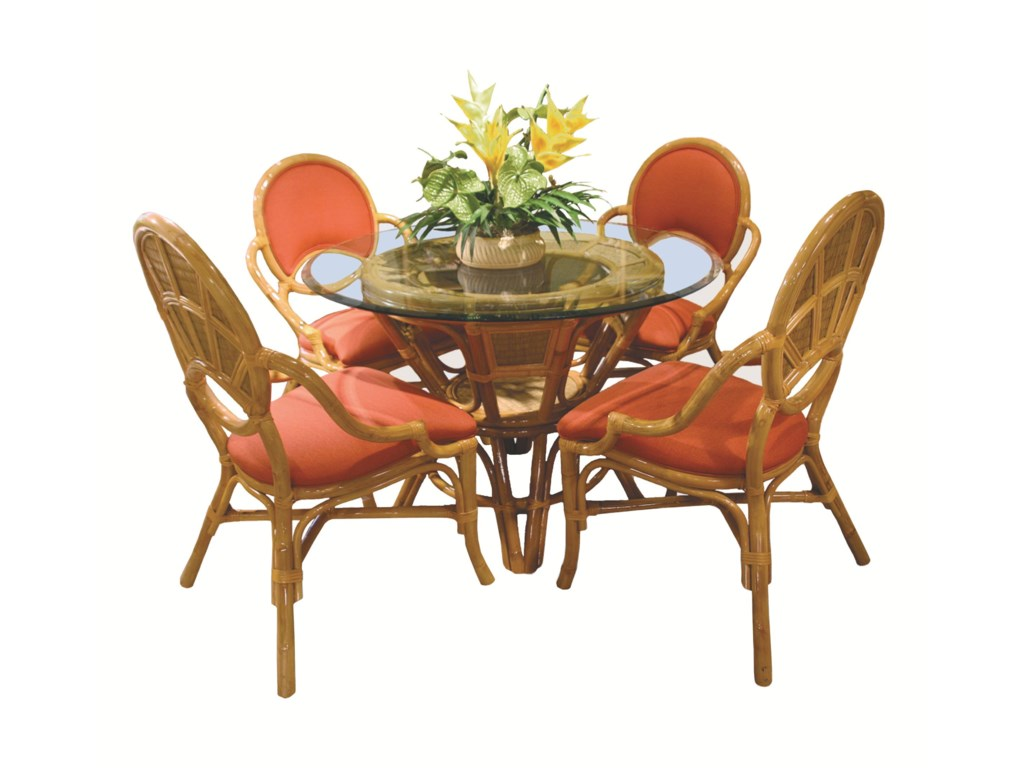 Capris Furniture 381 CollectionGlass Top Table With Four Arm Chairs