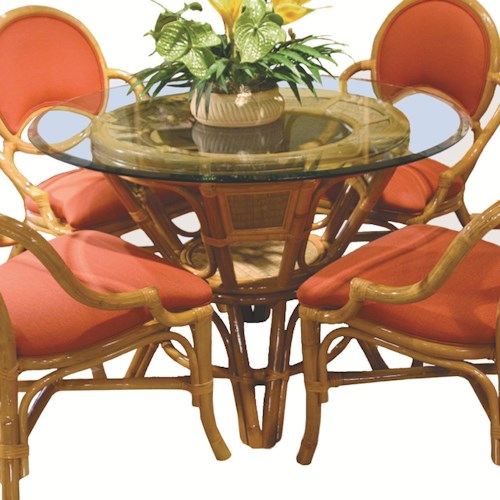 Capris Furniture 381 Collection Glass Top Round Wicker Rattan Table