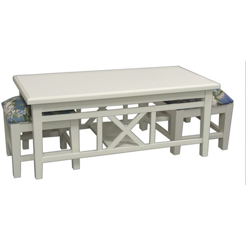 Capris Furniture 747 Hock Coffee Table With Upholstered Benches