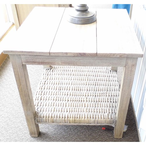 Capris Furniture 752 Casual Lamp Table with Woven Shelf