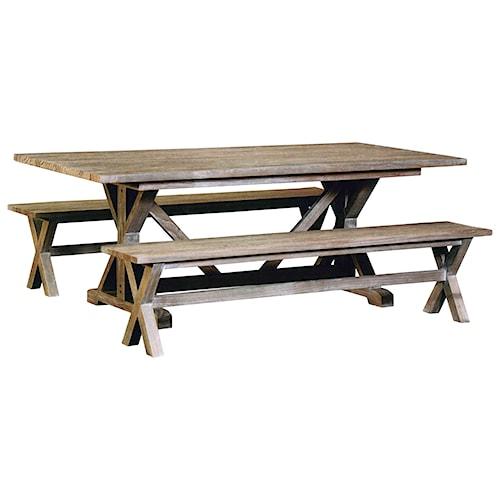 Capris Furniture 766 Rustic Coastal Three Piece Bench Dining Set