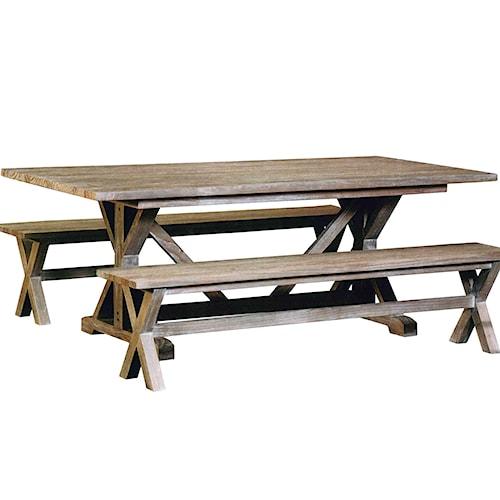 Capris Furniture 766 Rustic Coastal Trestle Table