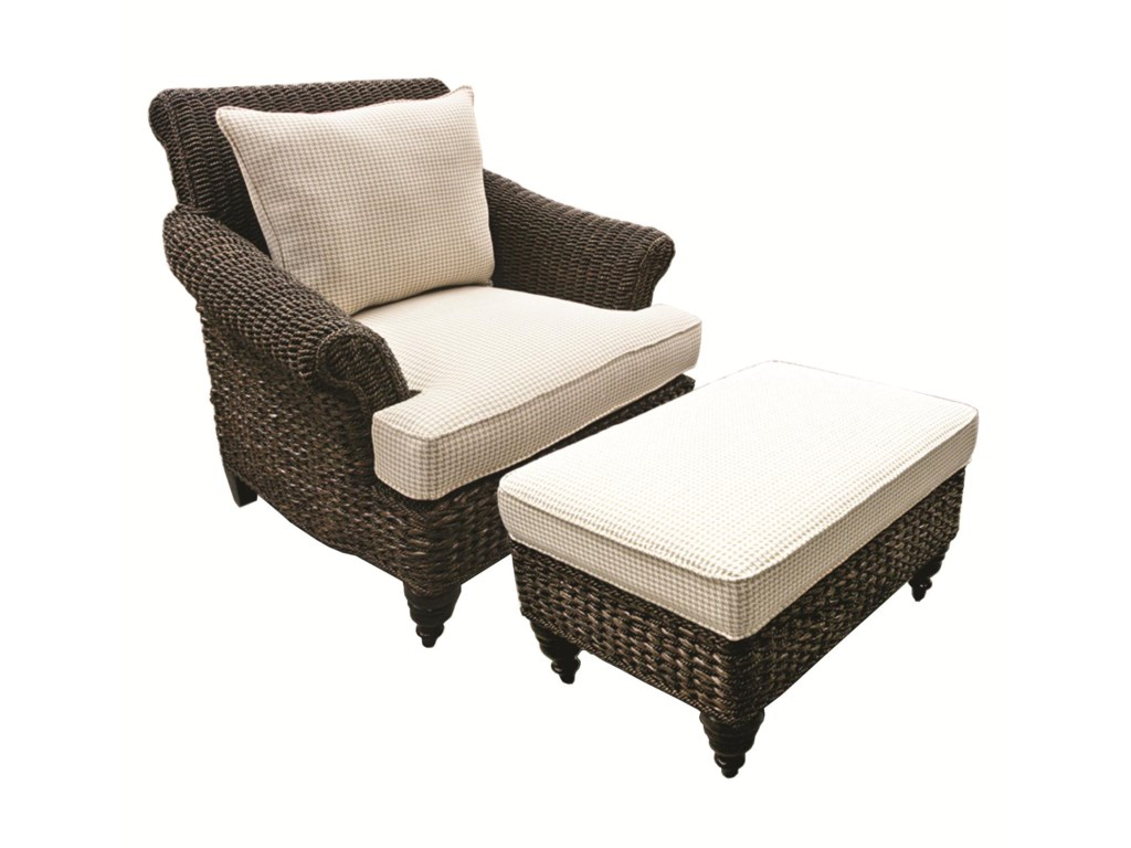 Capris Furniture Chairs And Ottomans Wicker Chair Ottoman Set With Upholstered Cushions