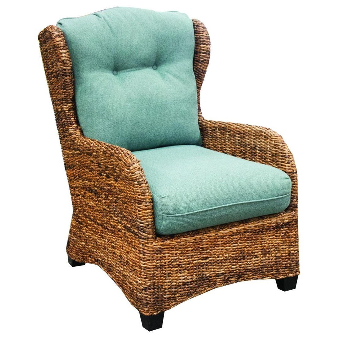 Capris Furniture Chairs And Ottomans Wicker Occasional Chair With Tufted  Back Cushion