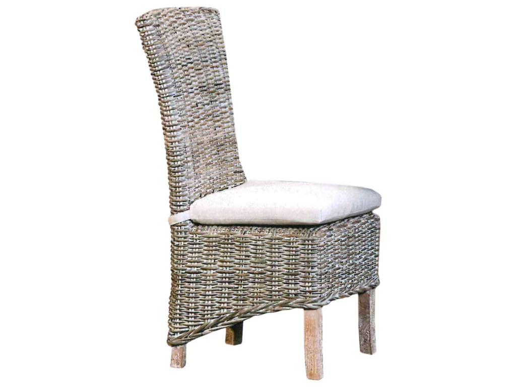 Chairs And Ottomans Weathered Gray Wicker Dining Chair With Tie On Cushion By Capris Furniture At Furniture Fair North Carolina