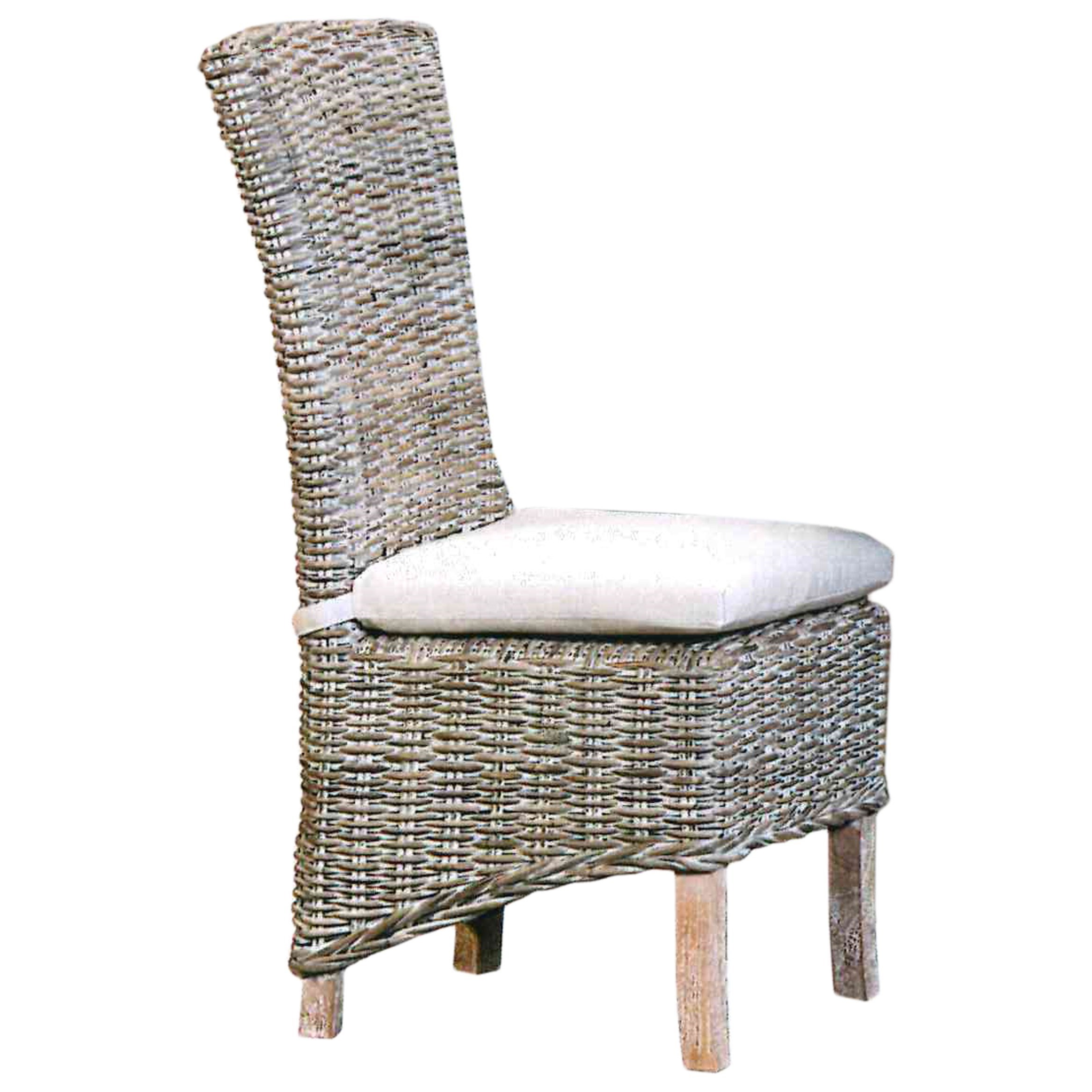 Capris Furniture Chairs And Ottomans Weathered Gray Wicker Dining Chair  With Tie On Cushion