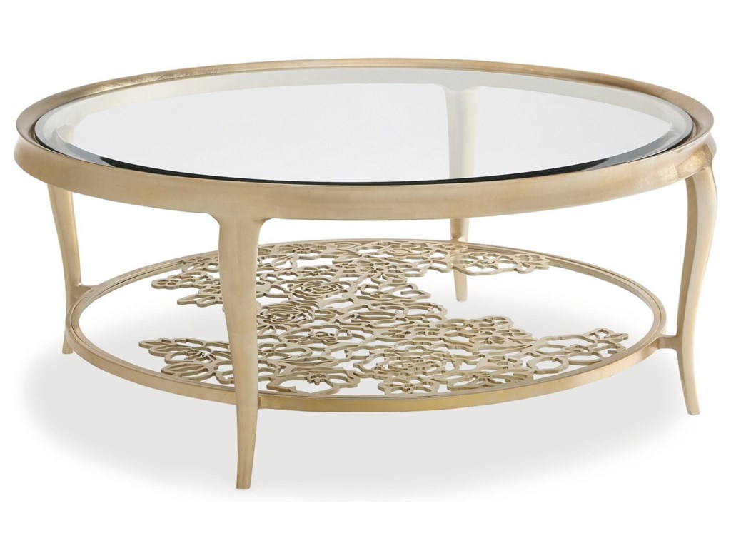 Transitional coffee table - Caracole Caracole Classic Transitional Handpicked Cocktail Table With Flower Pattern Design Jacksonville Furniture Mart Cocktail Coffee Tables
