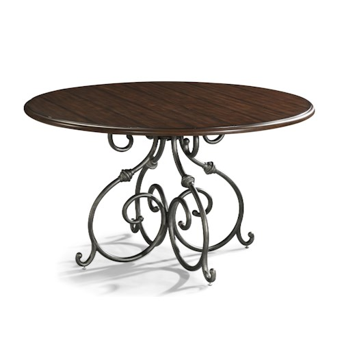 Easton Collection Blue Ridge Round Dining Table with Detailed Pedestal Base